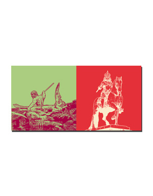 ART-DOMINO® BY SABINE WELZ Düsseldorf - Tritonenbrunnen + Jan Wellem