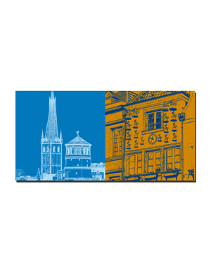 ART-DOMINO® BY SABINE WELZ Düsseldorf - Alter Schlossturm/Lambertus Basilika + Glockenspiel