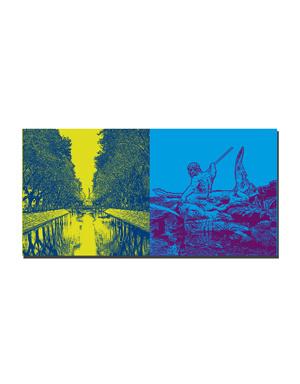 ART-DOMINO® BY SABINE WELZ Düsseldorf - Kö-Blick + Tritonenbrunnen