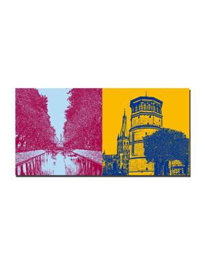 ART-DOMINO® BY SABINE WELZ Düsseldorf - Kö-Blick + Alter Schlossturm/Lambertus Basilika