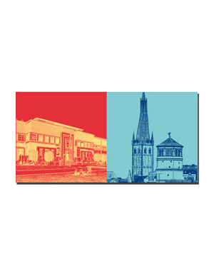ART-DOMINO® BY SABINE WELZ Düsseldorf - Ehrenhof + Alter Schlossturm/Lambertus Basilika