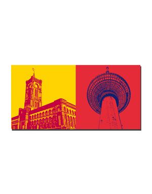 ART-DOMINO® BY SABINE WELZ Berlin - Rotes Rathaus + Fernsehturm