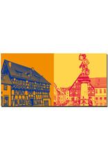 ART-DOMINO® BY SABINE WELZ Eisenach - Lutherhaus + Brunnenfigur am Markt