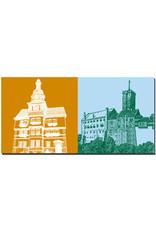 ART-DOMINO® BY SABINE WELZ Eisenach - Rathaus + Wartburg