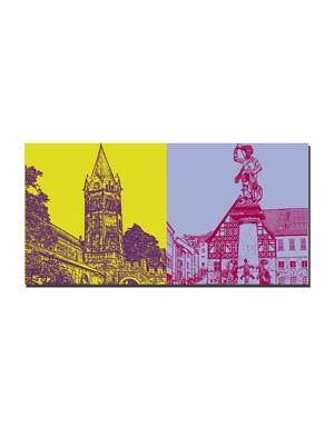 ART-DOMINO® BY SABINE WELZ Eisenach - Nikolaikirche + Brunnenfigur am Markt