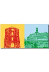 ART-DOMINO® BY SABINE WELZ Emden - Rote Mühle + Rathaus / Landesmuseum