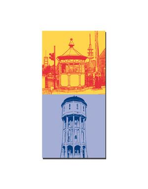 ART-DOMINO® BY SABINE WELZ Emden - Brückenhäuschen + Wasserturm