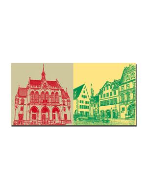 ART-DOMINO® BY SABINE WELZ Erfurt - Rathaus + Häuser am Fischmarkt