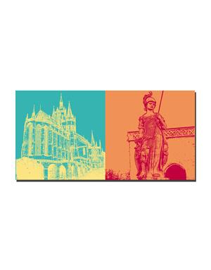 ART-DOMINO® BY SABINE WELZ Erfurt - Dom St. Marien + Statue auf dem Domplatz