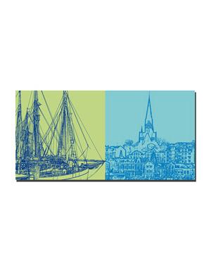 ART-DOMINO® BY SABINE WELZ Flensburg - Museumshafen + Blick Ostseite Hafen
