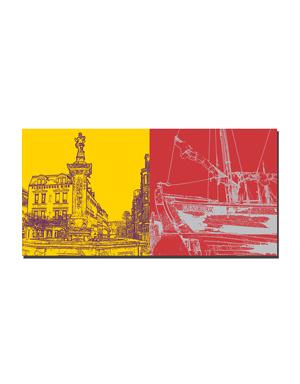 ART-DOMINO® BY SABINE WELZ Flensburg - Neptunbrunnen + Museumswerft/Flensburg