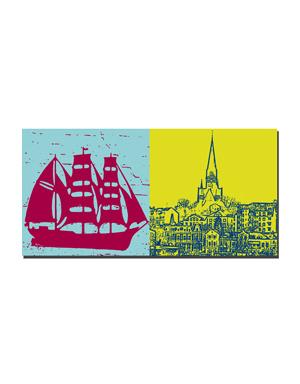 ART-DOMINO® BY SABINE WELZ Flensburg - Szene + Blick Ostseite Hafen