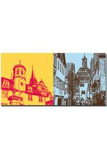 ART-DOMINO® BY SABINE WELZ Öhringen - Schloß Öhringen und Kirchturm + Altstadtgasse und Altes Rathaus