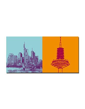 ART-DOMINO® BY SABINE WELZ Frankfurt - Skyline Skyscraper + Europaturm
