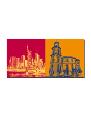 ART-DOMINO® BY SABINE WELZ Frankfurt - Skyline und Brücke + Paulskirche