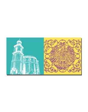 ART-DOMINO® BY SABINE WELZ Frankfurt - Paulskirche + Wappen am Brunnenzaun