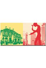 ART-DOMINO® BY SABINE WELZ Frankfurt - Hauptwache + Hammering Man