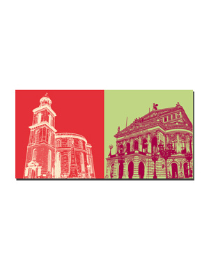 ART-DOMINO® BY SABINE WELZ Frankfurt - Paulskirche + Alte Oper