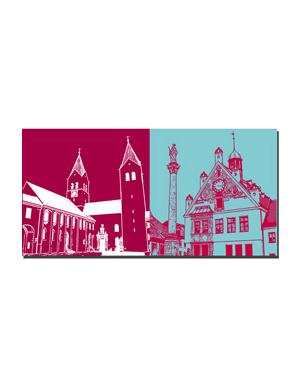ART-DOMINO® BY SABINE WELZ Freising - Dom + Rathaus mit Mariensäule