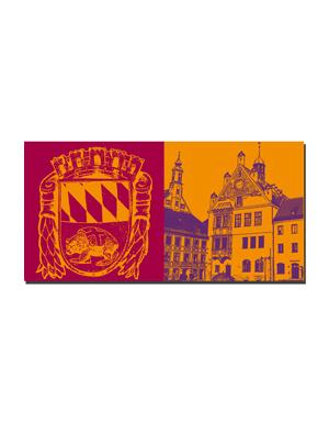 ART-DOMINO® BY SABINE WELZ Freising - Stadtwappen + Rathaus mit Asamhaus