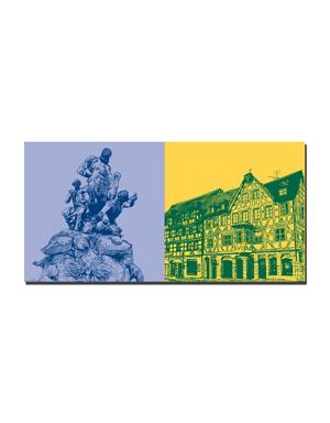 ART-DOMINO® BY SABINE WELZ Fürth - Centaurenbrunnen + Marktplatz