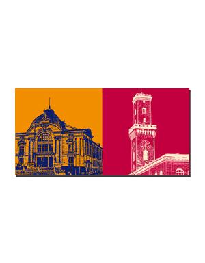 ART-DOMINO® BY SABINE WELZ Fürth - Stadttheater + Rathaus Turm