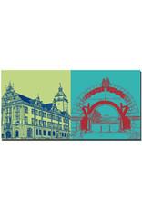 ART-DOMINO® BY SABINE WELZ Gotha - Rathaus, Längsseite + Schloß Friedenstein Torbogen