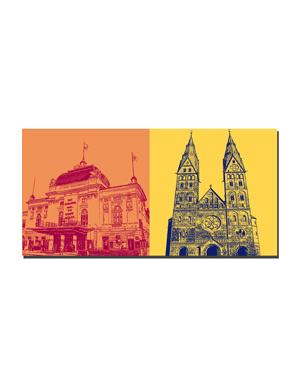 ART-DOMINO® BY SABINE WELZ Hamburg - Deutsches Schauspielhaus + Mariendom