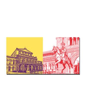 ART-DOMINO® BY SABINE WELZ Hannover - Staatsoper + Ernst-August von Hannover vor dem Hauptbahnhof