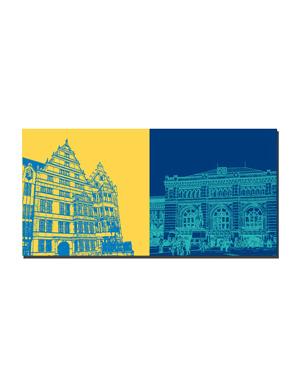 ART-DOMINO® BY SABINE WELZ Hannover - Leibnizhaus + Hauptbahnhof