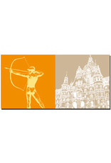 ART-DOMINO® BY SABINE WELZ Hannover - Bogenschütze vor dem Rathaus + Rathaus
