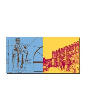ART-DOMINO® BY SABINE WELZ Hannover - Mozart auf Oper + Hauptbahnhof mit Wasserspiel