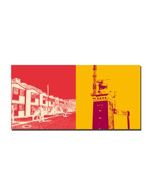 ART-DOMINO® BY SABINE WELZ Helgoland - Hummerbuden Unterland + Leuchtturm mit Schild Lummenfelsen