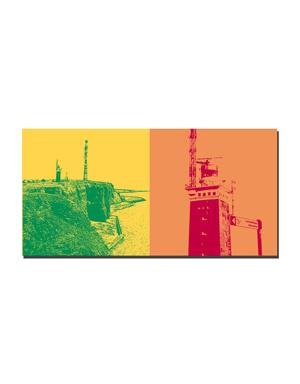 ART-DOMINO® BY SABINE WELZ Helgoland - Küstenblick von der Nordspitze + Leuchtturm mit Schild Lummenfelsen