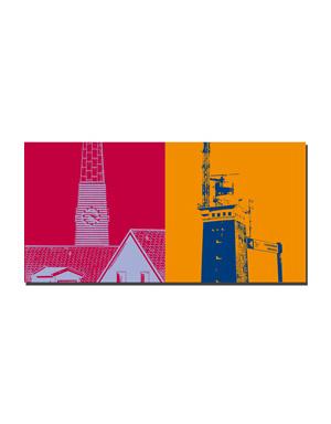 ART-DOMINO® BY SABINE WELZ Helgoland - Kirchturm St. Nicolai + Leuchtturm mit Schild Lummenfelsen
