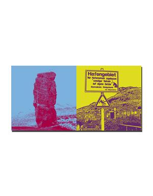 ART-DOMINO® BY SABINE WELZ Helgoland - Lange Anna + Schild Hafengebiet