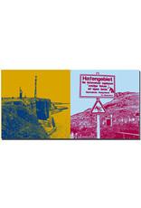 ART-DOMINO® BY SABINE WELZ Helgoland - Küstenblick von der Nordspitze + Schild Hafengebiet