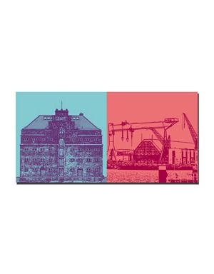 ART-DOMINO® BY SABINE WELZ Kiel - Eckmann-Speicher + HDW-Kräne
