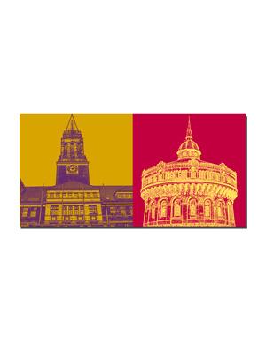 ART-DOMINO® BY SABINE WELZ Kiel - Rathaus + Ravensberger Wasserturm
