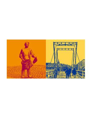 ART-DOMINO® BY SABINE WELZ Kiel - Zeitungsjunge Kieler Nachrichten + Hörnbrücke