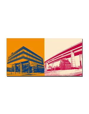 ART-DOMINO® BY SABINE WELZ Kiel - Wissenschaftszentrum + Hochbrücke