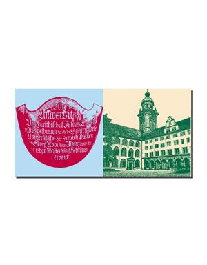 ART-DOMINO® BY SABINE WELZ Würzburg - Alte Universität-Schild + Alte Universität und Turm Neubaukirche-Festaula