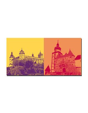 ART-DOMINO® BY SABINE WELZ Würzburg - Festung Marienberg + Festung Marienberg, Scherenbergtor und Kiliansturm