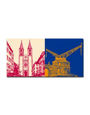 ART-DOMINO® BY SABINE WELZ Würzburg - Dom St. Kilian + Alter Kranen