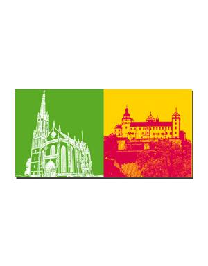 ART-DOMINO® BY SABINE WELZ Würzburg - Marienkapelle + Blick auf Festung Marienberg