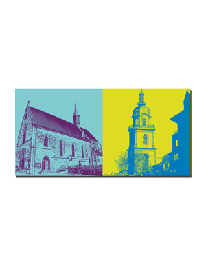 ART-DOMINO® BY SABINE WELZ Heilbronn - Nikolaikirche + Hafenmarktturm