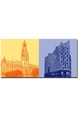 ART-DOMINO® BY SABINE WELZ Hamburg - Rathaus + Elbphilharmonie