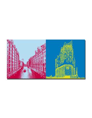 ART-DOMINO® BY SABINE WELZ Hamburg - Fleet/Speicherstadt + Elbphilharmonie