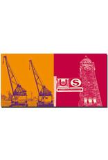 ART-DOMINO® BY SABINE WELZ Hamburg - Hafenkräne + Landungsbrücken