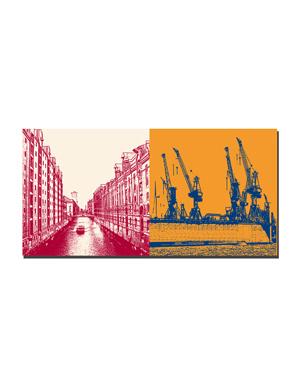 ART-DOMINO® BY SABINE WELZ Hamburg - Fleet/Speicherstadt + Hafenkräne